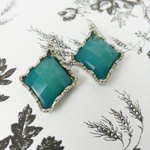 Diamond shape faux stone teal drop earrings